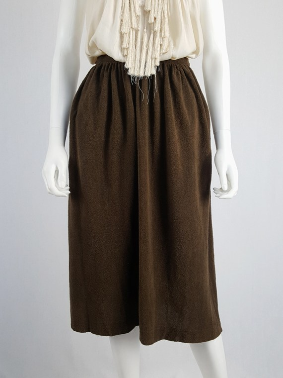 vintage Comme des Garcons brown pleated skirt in towel fabric 1970s 1980s110310(0)
