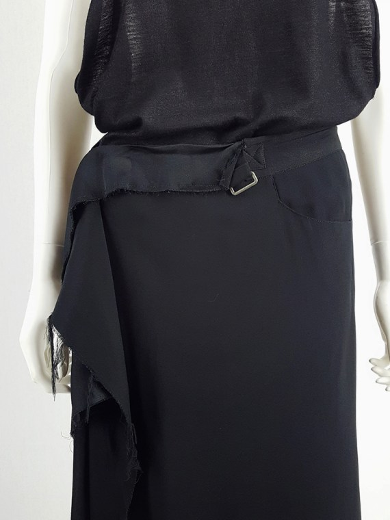 vintage Maison Martin Margiela black asymmetric skirt torn from the fabric roll spring 2006 211644
