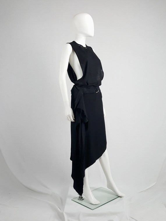 vintage Maison Martin Margiela black asymmetric skirt torn from the fabric roll spring 2006 211943