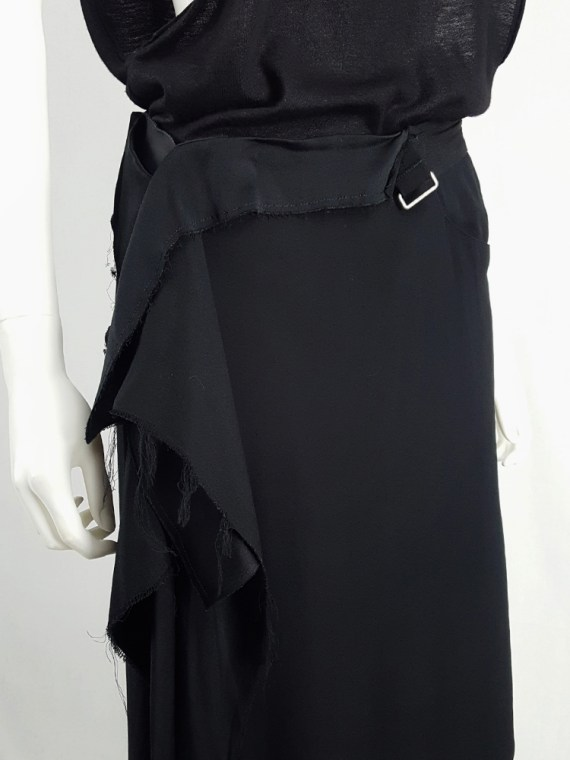 vintage Maison Martin Margiela black asymmetric skirt torn from the fabric roll spring 2006 212006(0)