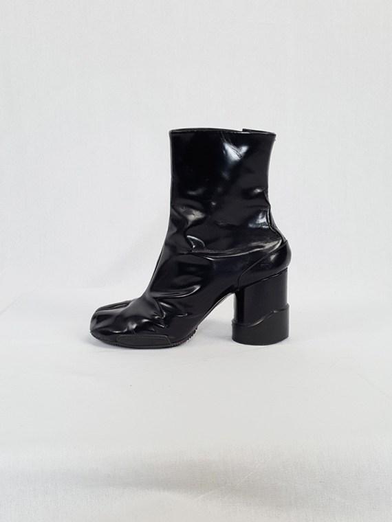 vintage Maison Martin Margiela black patent techno tabi boots fall 2014 134016