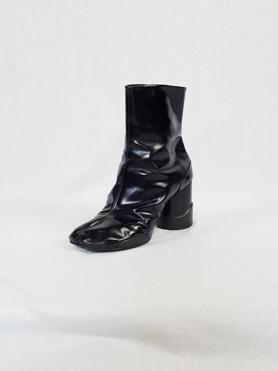 vintage Maison Martin Margiela black patent techno tabi boots fall 2014 134030