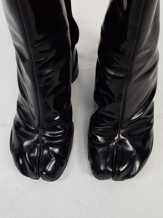 vintage Maison Martin Margiela black patent techno tabi boots fall 2014 134432