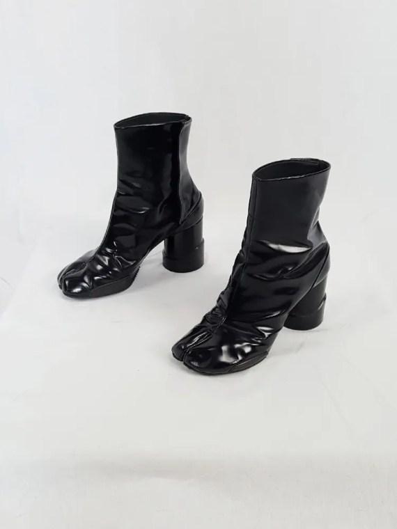 vintage Maison Martin Margiela black patent techno tabi boots fall 2014 134641