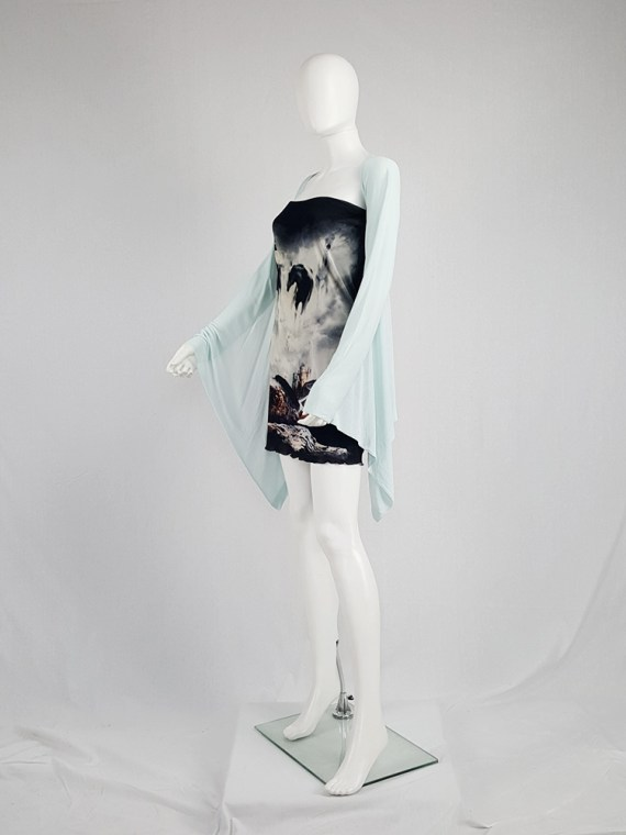 vintage Maison Martin Margiela mint green cardigan with integrated sleeves runway spring 2008 104102