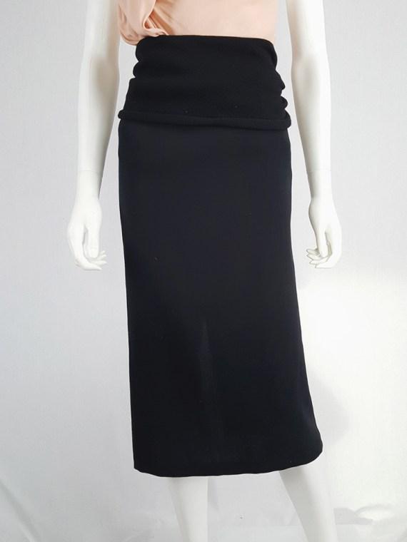 vintage Yohji Yamamoto black midi skirt with obi style sash 175436