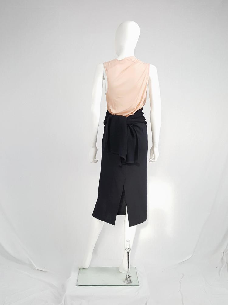 Yohji Yamamoto black midi skirt with obi-style sash