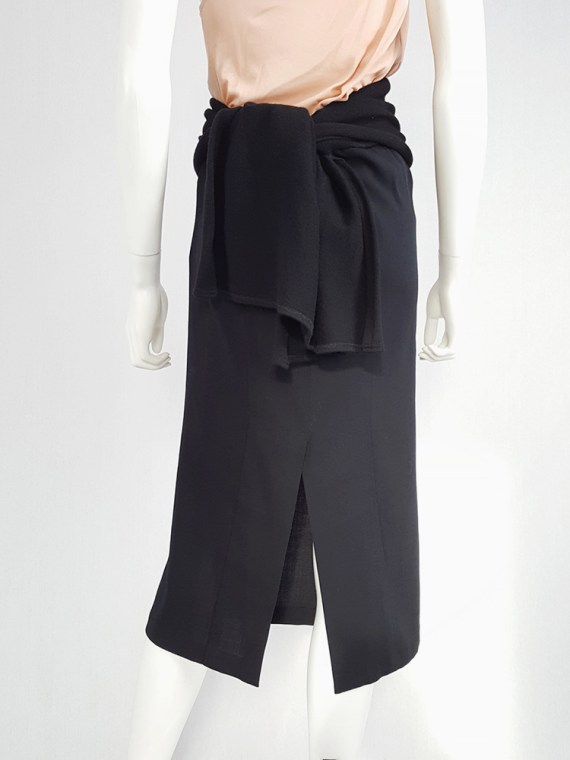 vintage Yohji Yamamoto black midi skirt with obi style sash 175629