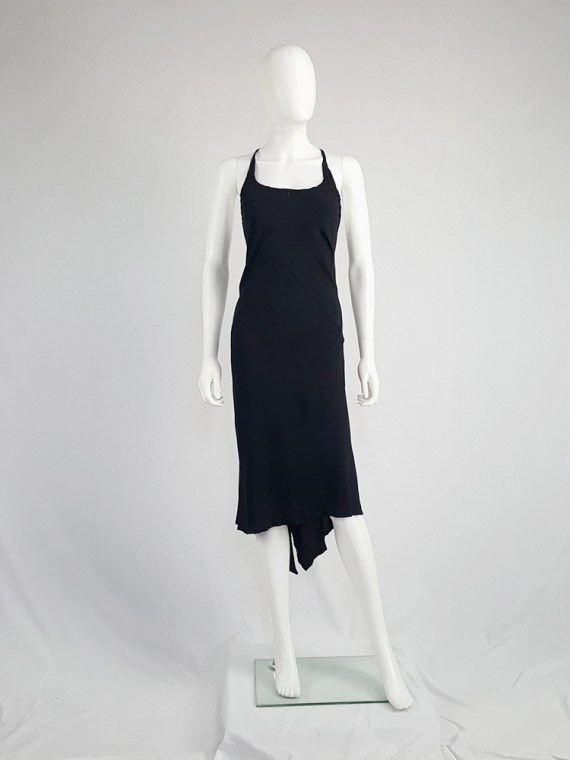 vintage Ann Demeulemeester black strappy dress with mermaid skirt spring 2007 113002