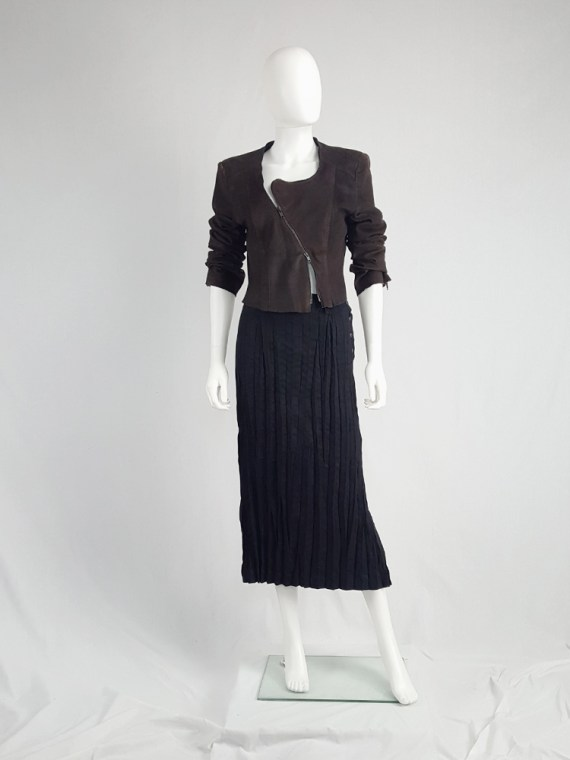 vintage Issey Miyake Fete black suede pleated maxi skirt 130339