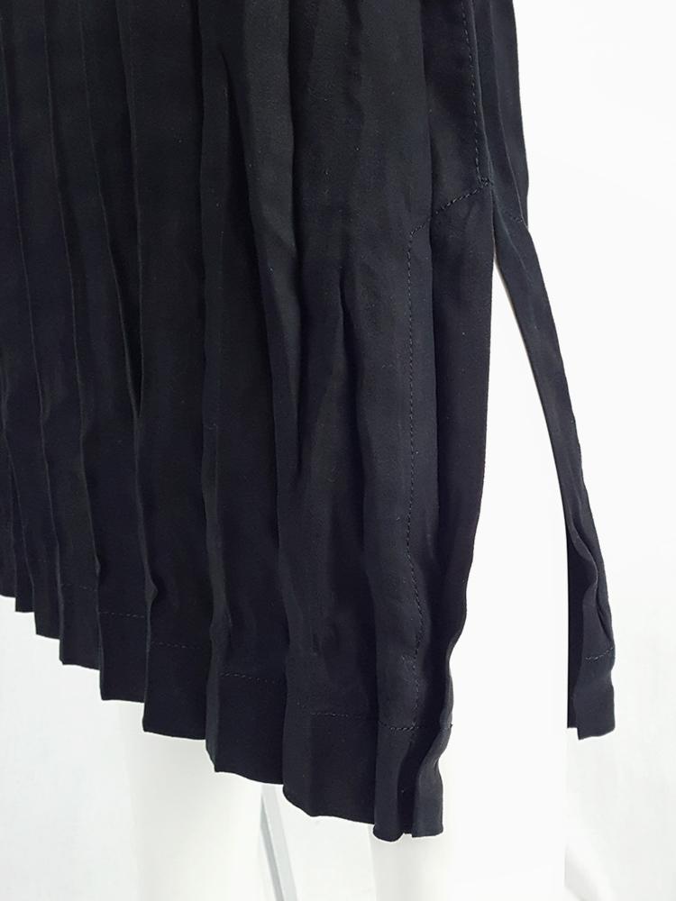 Issey Miyake Fête black suede pleated maxi skirt