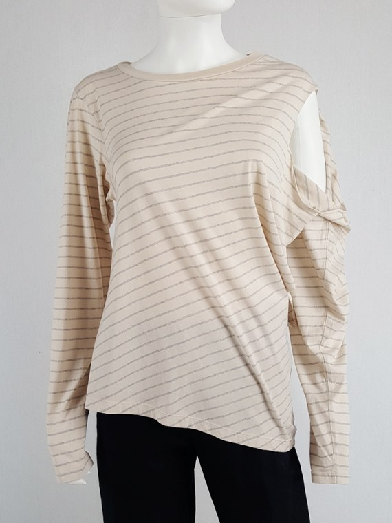 vintage Maison Martin Margiela beige striped sideways worn jumper spring 2005 140913