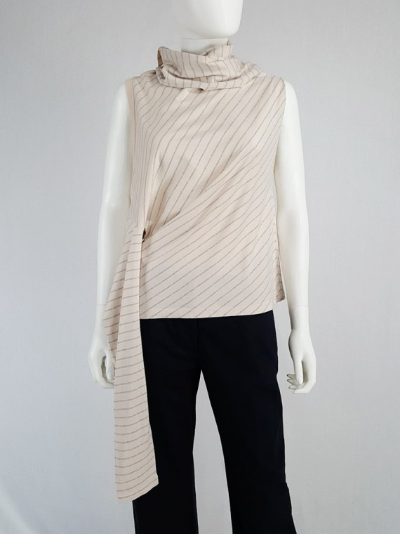 Maison Martin Margiela beige striped sideways-worn jumper — spring 2005