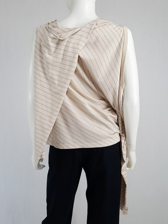 vintage Maison Martin Margiela beige striped sideways worn jumper spring 2005 141429