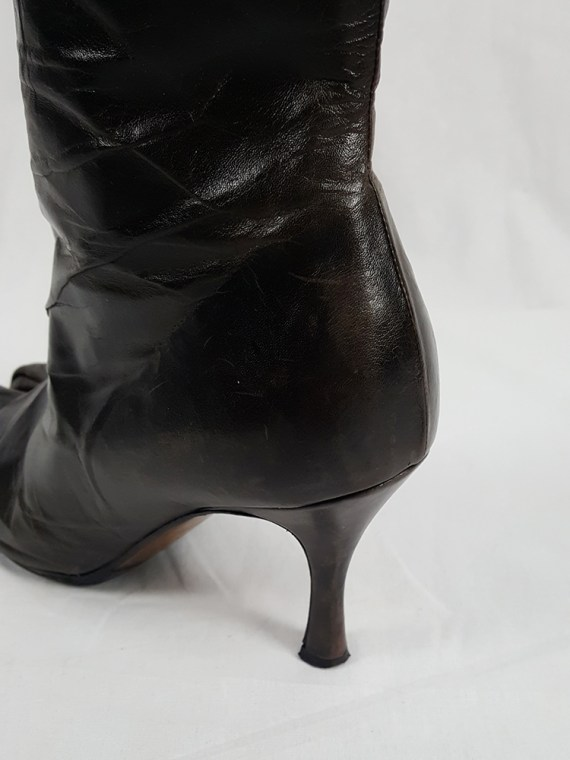 vintage Maison Martin Margiela brown tabi boots with stiletto heel spring 2007 224303
