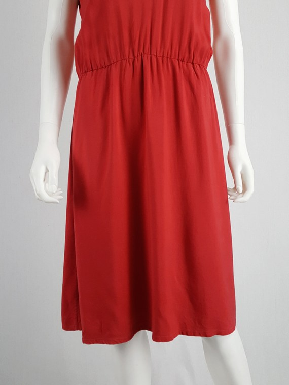 Maison Martin Margiela red dress with pink strap across the chest — spring 2007