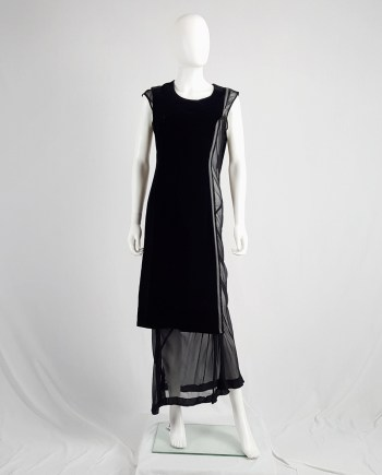 Comme des Garçons black velvet dress with sheer inserts fall 1997