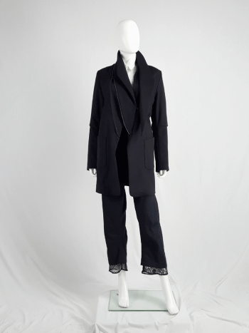 Ann Demeulemeester dark navy coat with zip-off collar