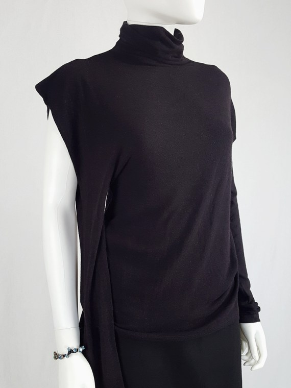 vintage Maison Martin Margiela black jumper with peak shoulder runway fall 2009 110029