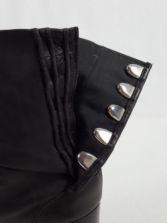 vintage Maison Martin Margiela black leather tabi boots with block heel 1990s archive 111905