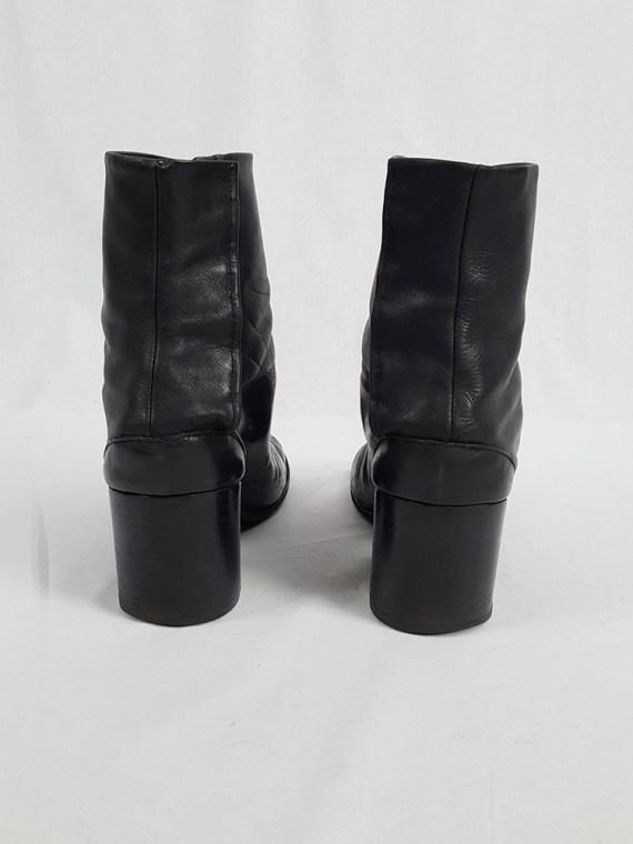 vintage Maison Martin Margiela black leather tabi boots with block heel 1990s archive 112038