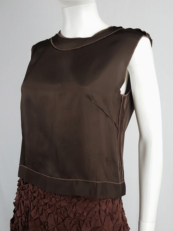 vintage Maison Martin Margiela brown inside-out top in lining fabric runway fall 1995 125057