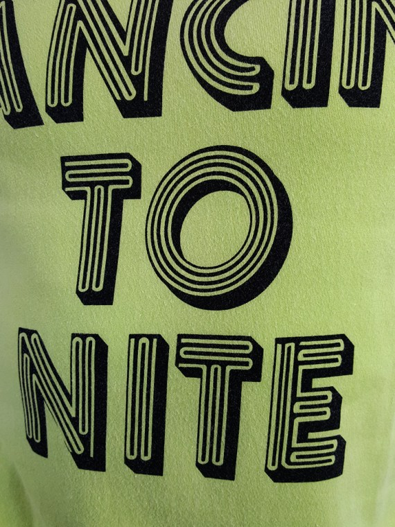 vintage men 10 Maison Martin Margiela yellow t-shirt with dancing to nite print spring 2009 115718