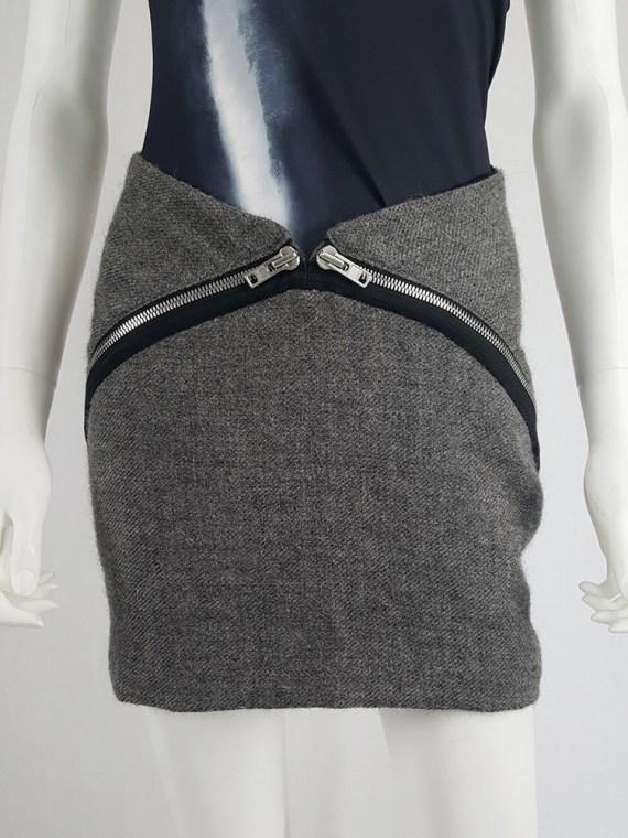 Maison Martin Margiela grey double zipper skirt — fall 2008