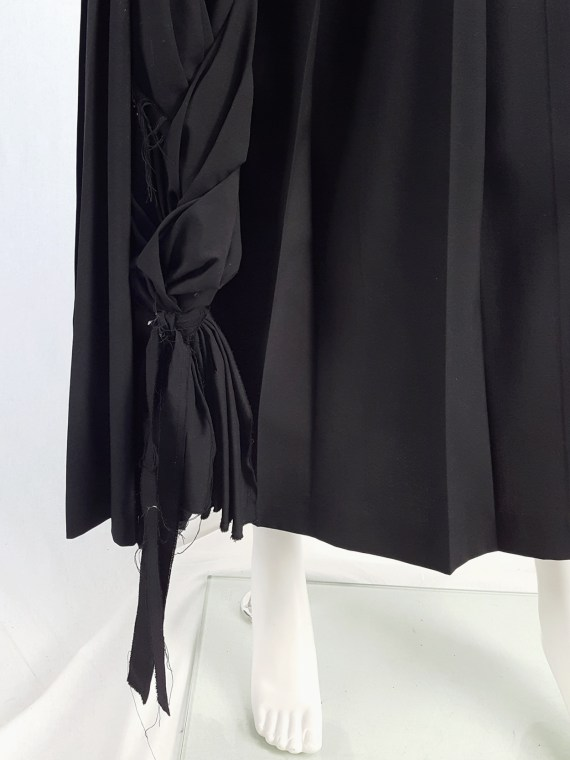 vintage Comme des Garcons black pleated skirt with oversized braid spring 2003 123255