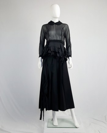 Comme des Garçons black sheer top with ruffled hem — spring 2016