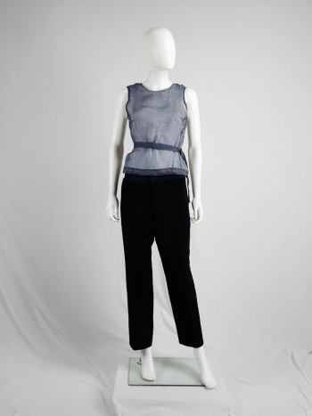 Dries Van Noten blue sheer wrap top with white underlayer