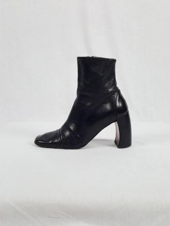 Ann Demeulemeester black boots with banana heel (37) — 90's