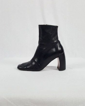 Ann Demeulemeester black boots with banana heel (37) — 90's