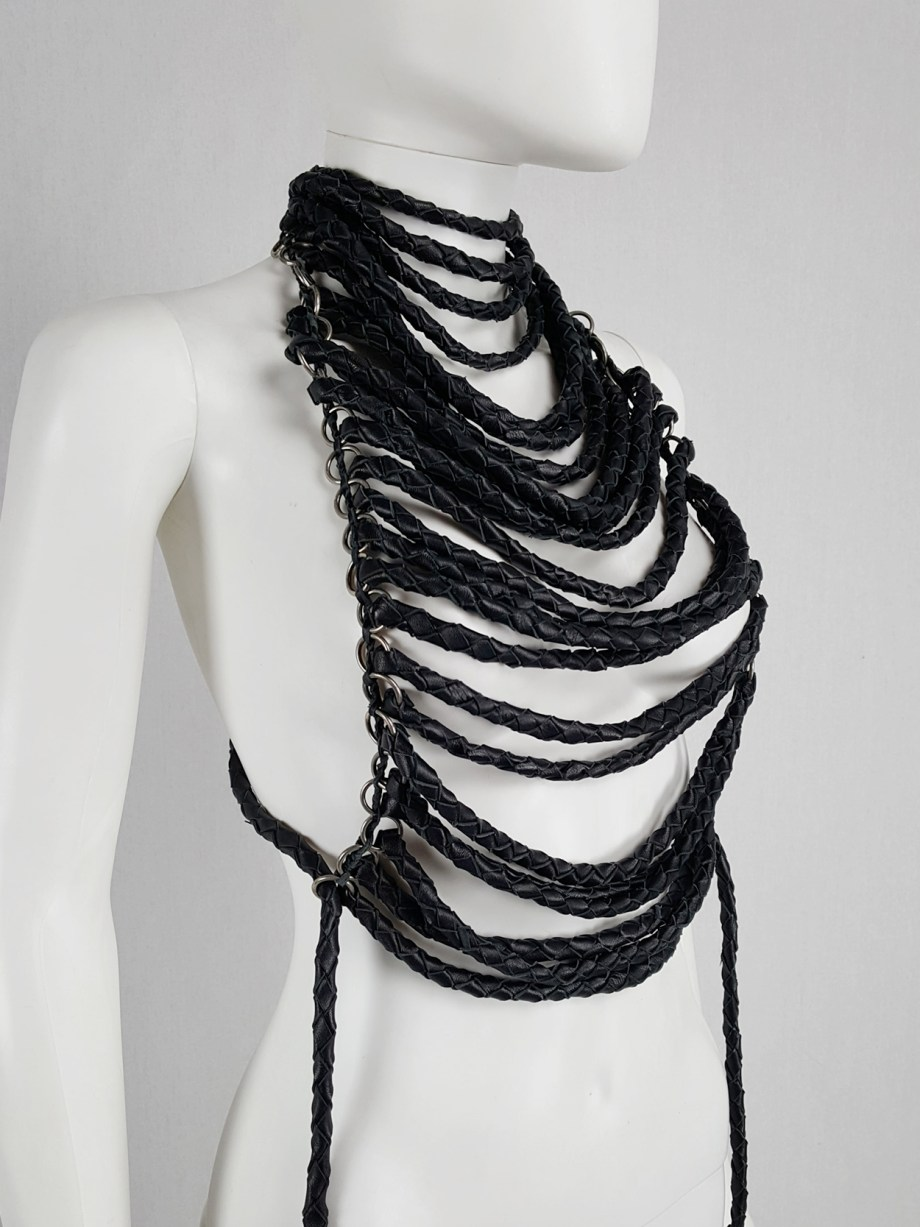 Ann Demeulemeester black leather necklace or bodypiece — fall 2010