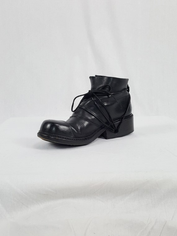 vaniitas vintage Dirk Bikkembergs black boots with laces through the soles 90s archive 120144