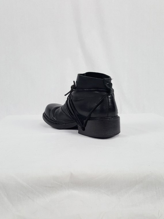 vaniitas vintage Dirk Bikkembergs black boots with laces through the soles 90s archive 120402