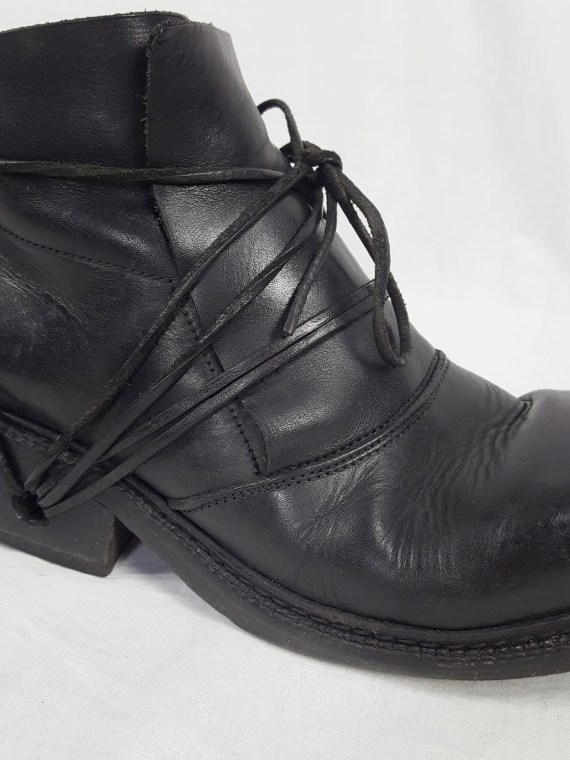 vaniitas vintage Dirk Bikkembergs black boots with laces through the soles 90s archive 120555