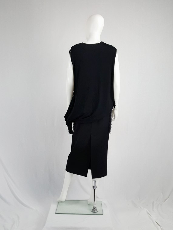vintage Comme des Garcons black draped top with side ruffles spring 2013 125212