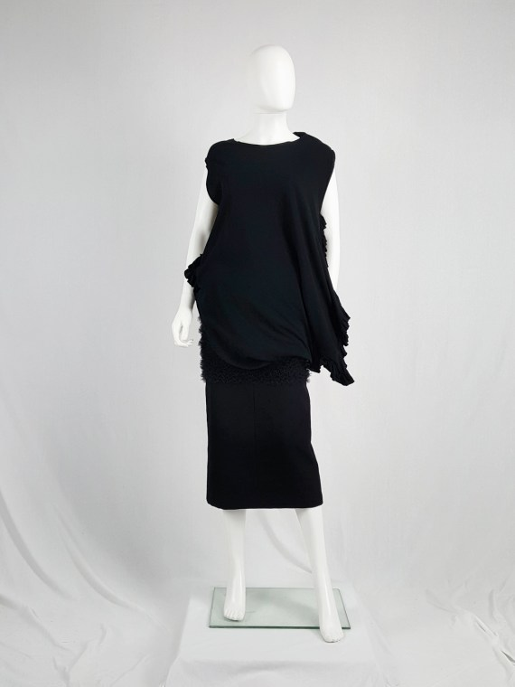 vintage Comme des Garcons black draped top with side ruffles spring 2013 125547