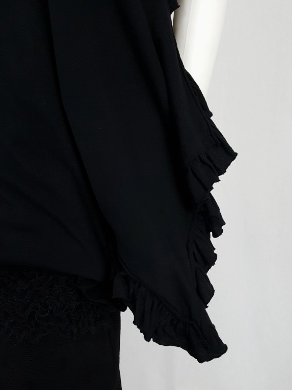 vintage Comme des Garcons black draped top with side ruffles spring 2013 125716