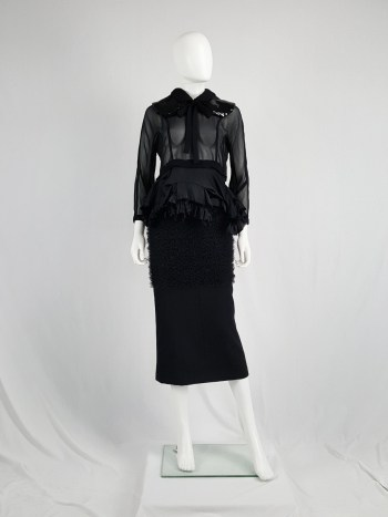 Comme des Garçons black skirt with ruffled panel — fall 2001