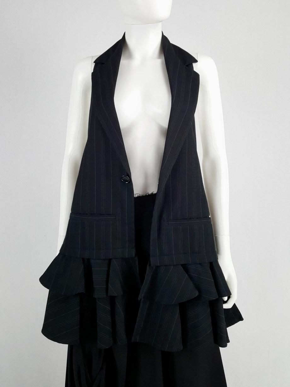 Limi Feu black long backless waistcoat with ruffled bottom
