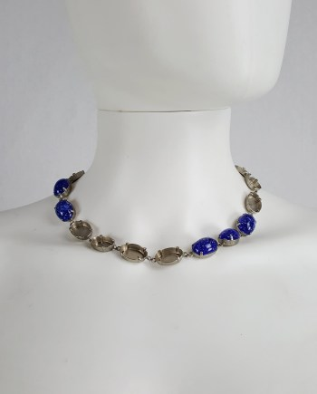 Maison Martin Margiela blue gemstone necklace with missing stones — spring 2007