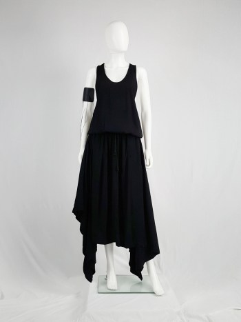 Silent Damir Doma black racerback maxi dress with handkerchief skirt