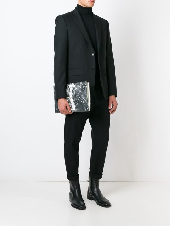 Yohji Yamamoto × Matatabi black and white marbled paper clutch bag fall 2015