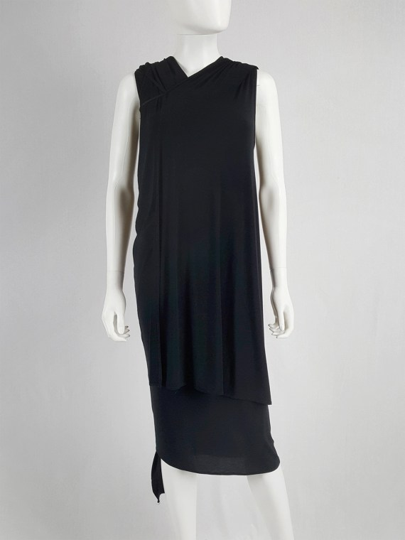 vaniitas vintage Ann Demeulemeester black triple wrapped dress spring 1998 145456