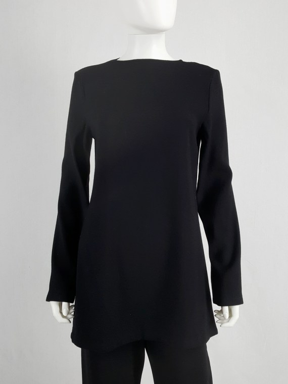 vaniitas vintage Ann Demeulemeester black tunic with deep cut out back fall 2015 100835