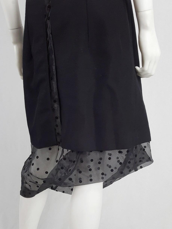 Comme des Garçons black sheer polkadot dress with wool paneling — fall 1997