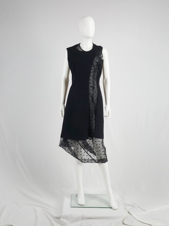 vaniitas vintage Comme des Garçons black sheer polkadot dress with wool paneling fall 1997 174636(0)