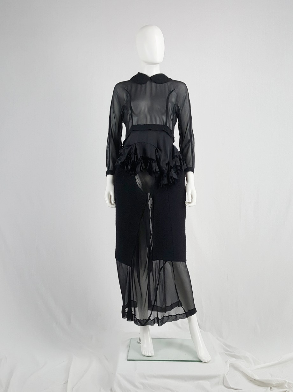 Comme des Garçons black sheer skirt with wool paneling — fall 1997